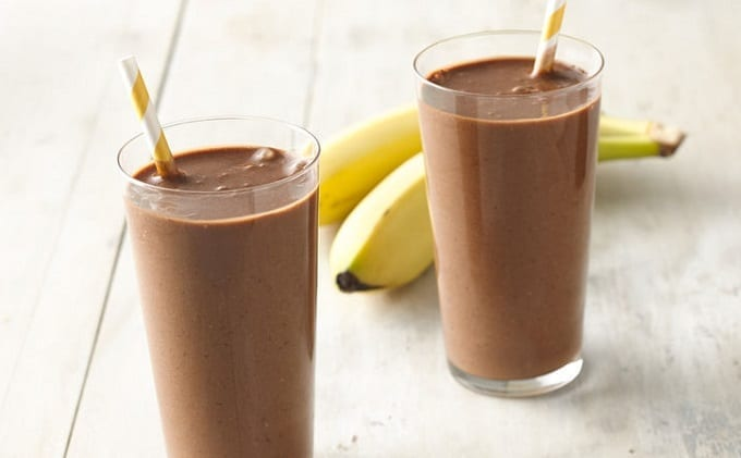 Two Glasses Of Chocolate Banana Shake