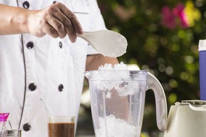 Taking Crushed Ice From Blender